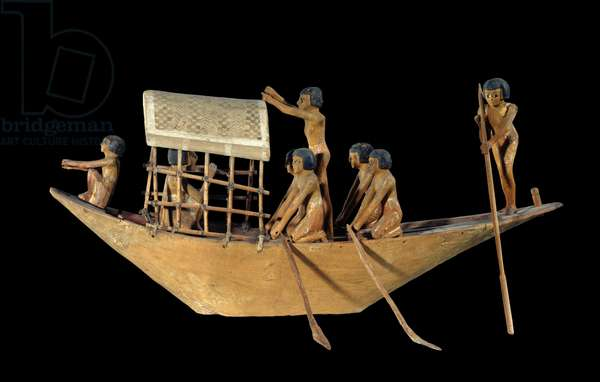 Egyptian antiquite: boat model in stucco wood and painted - Middle empire, 2000 BC - Dim 0,29x0,67 m Paris, Musee du Louvre