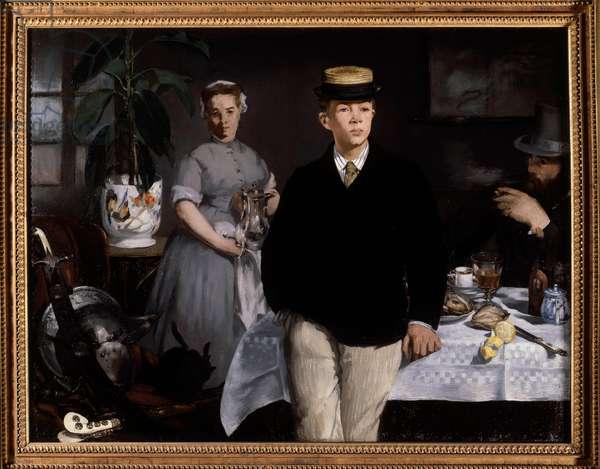 The breakfast in the workshop Painting by Edouard Manet (1832-1883) 1868 Sun. 1,18x1,54 m Munich, Neue Pinakothek - Breakfast in the studio. Painting by Edouard Manet (1832-1883), 1868. 1.18 x 1.54 m. Neue Pinakothek, Munich, Germany