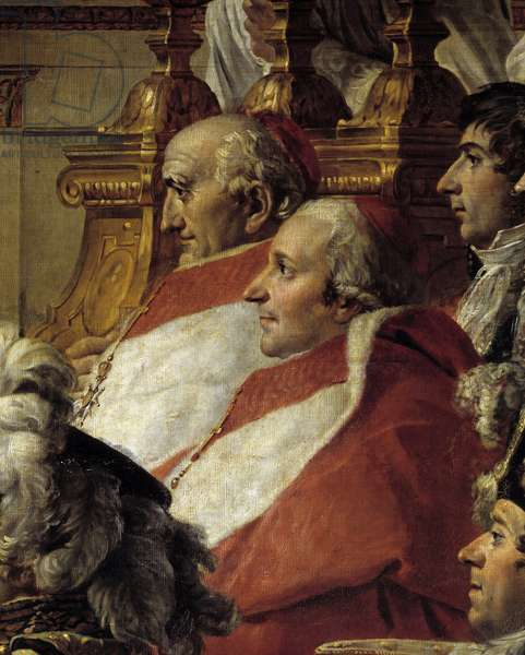The Rite of Napoleon. Detail depicting the Cardinals and Jean Baptiste Jules Bernadotte (1763-1844) during the Sacred of Emperor Napoleon I Bonaparte and coronation of Imperatrice Josephine at Notre-Dame de Paris on December 2, 1804. Painting by Jacques Louis David (1748-1825), 1804-1806. Oil on canvas. Dim: 6,210x9,790m.  - The Coronation (or Consecration) of Napoleon. Detail representing the Cardinals and Jean Baptiste Jules Bernadotte (1763-1844) during the Consecration of the Emperor Napoleon I Bonaparte and Coronation of the Empress Josephine in Notre-Dame de Paris on 2 December 1804. Painting by Jacques Louis David (1748-1825), 1804-1806. Oil on canvas. 6,210 x 9,790 m. Louvre Museum, Paris