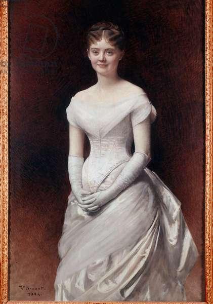 Portrait of Mademoiselle de Noille Painting by Leon Joseph Bonnat (1833-1922) 1884 Tours, Musee des Beaux Arts