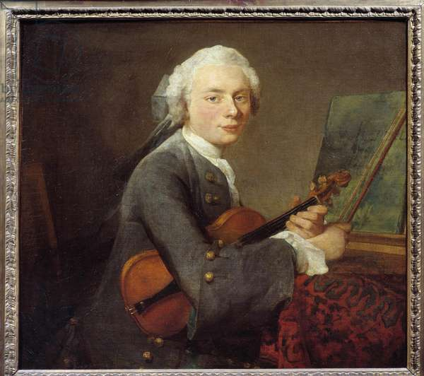 Le jeune homme au violin ou portrait de Charles Theodose Godefroy (1718-1796) Painting by Jean Baptiste Simeon Chardin (1699-1779) Sun. 0,67x 0,74 m  - Young man with a violin or Portrait of Charles Theodose Godefroy (1718-1796). Painting by Jean-Baptiste Simeon Chardin (1699-1779). 0.67 x 0.74 m. Louvre Museum, Paris