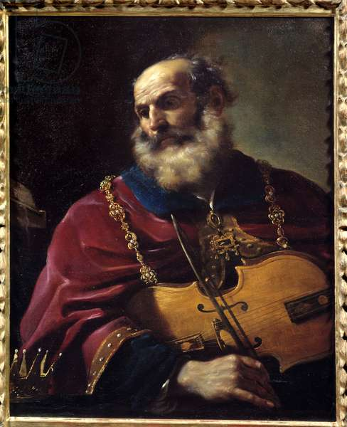 King David (playing the violin). Painting by Barbieri Giovanni Francesco dit Le Guerchin (1591-1666), 17th century. Oil on canvas. Dim: 0.88 x 0.72m. Rouen, Museum of Fine Arts