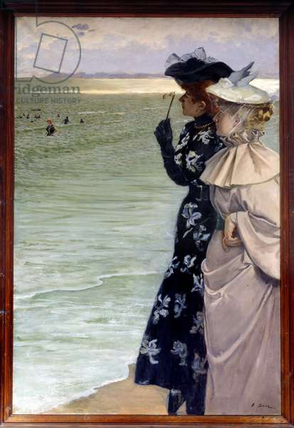 """Beautiful period: """""""" Bath time by the sea"""""""""""" Two women on the shore examining the bathers in binocle. Painting by Ernest Ange Duez (1843-1896) 1896 Sun. 1,06x1,6 m Rouen, musee des Beaux Arts - Belle epoque: """""""" Bath time at the seaside"""""""" Two women on the beach looking at the bathers with bincoles. Painting by Ernest Ange Duez (1843-1896), 1896. 1.06 x 1.6 m. Beaux-Arts Museum, Rouen, France"""