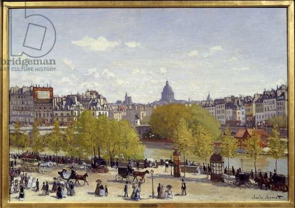 Le quai du Louvre in Paris in 1867. Painting by Claude Monet (1840-1926), 1867. Oil on canvas. Dim: 0,87 x 0,62m. La Haye, Gemeentemuseum - The Quai du Louvre in Paris, 1867. Painting by Claude Monet (1840-1926), 1867. Oil on canvas. 0.87 x 0.62 m. Gemeentemuseum, the Hague, Netherlands