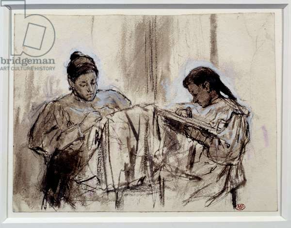 The mother and sister of the embroidery artist. Maria Picasso Lopez and her daughter. Drawing by Pablo Picasso (1881-1973), 1899. Wash of brown ink and gouache. Dim: 0.16 x 0.22m. Paris, Musee Picasso.