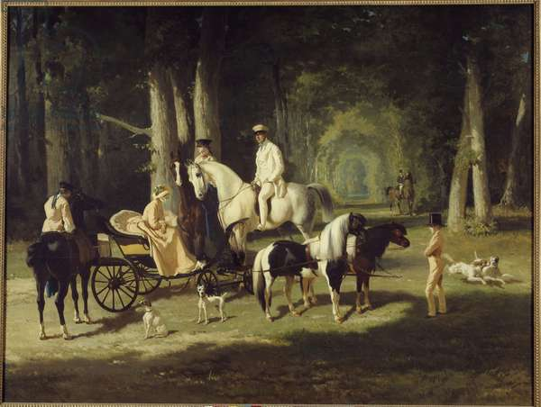 Mr. and Mrs. A. Mosselman and their two daughters Walk through the woods on horseback. Painting by Alfred de Dreux (1810-1860) 1848 Sun. 2x2,65 m Paris, museum of the Petite Palais