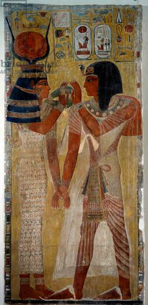 Art of ancient Egypt: King Sethi I and goddess Hathor, comes from the tomb of Sethi I (valley of kings), 19th dynasty (ca. 1295-1186 BC). Painting on limestone. Dim: 2,26x1,05m.