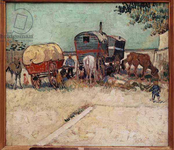 The trailers, a camp of bohemians in the vicinity of Arles. Painting by Vincent Van Gogh (1853-1890), 1888. Oil on canvas. Dim: 0.45x0.51m. Musee d'Orsay, Paris - Caravans, encampment of gypsies near Arles. Painting by Vincent Van Gogh (1853-1890), 1888. Oil on canvas. 0.45 x 0.51m. Orsay Museum, Paris
