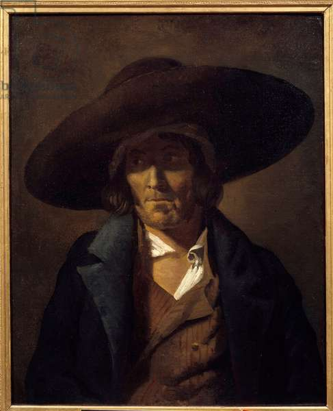 Portrait of Man called the Vendeen Painting by Theodore Gericault (1791-1824) 19th century Sun. 0,81x0,64 m