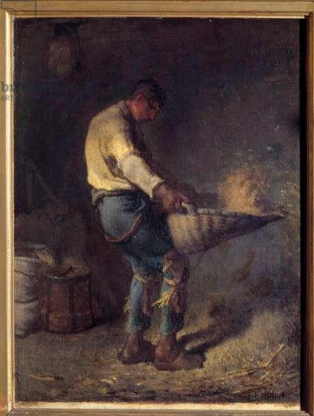A Vanneur Painting by Jean Francois Millet (1814-1875) 19th century Sun. 0,38x0,29 m