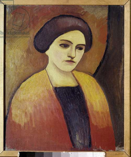 Portrait of Madame Macke, Wife of the Painter Painting by August Macke (1887-1914) 1911 Paris, Municipal Museum of Modern Art