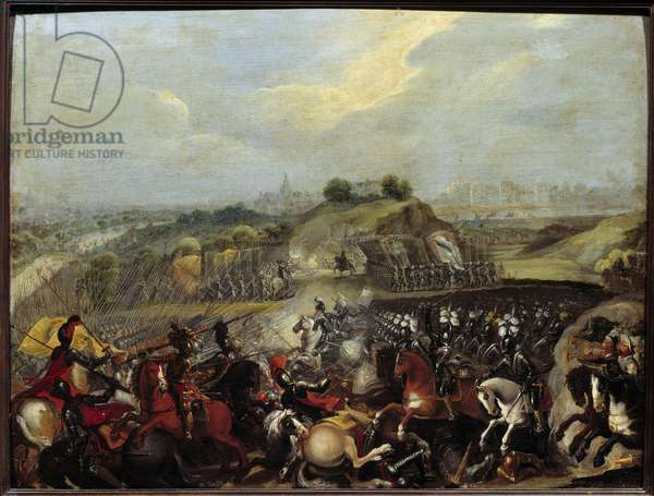 """Religious Wars: """""""" Henry IV at the Battle of Ivry on 14/03/1590"""" The Battle of Ivry on 14/03/1590 saw the victory of the royal army against the Catholic League. Maximilian of Bethune, Duke of Sully, the king's minister, was hurt there. Painting of the French School. 17th century. Sun 0,41x0,52 m"""