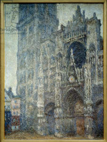 The portal of the cathedrale de Rouen; grey weather. Painting by Claude Monet (1840-1926), 1894. Oil on canvas. Dim: 0.90 x 0.73m. Rouen, Musee Des Beaux Arts - The portal of Rouen Cathedral, grey weather. Painting by Claude Monet (1840-1926), 1894. Oil on canvas. 0.90 x 0.73 m. Beaux-Arts Museum, Rouen, France