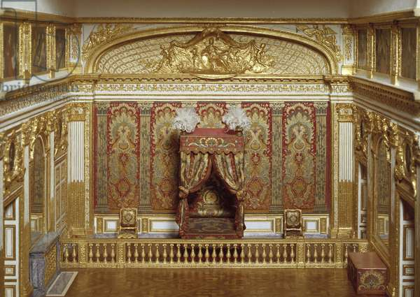 Model of the room of King Louis XIV (1638-1715) at the castle of Versailles made by Charles Arquinet (20th century) around 1960. Versailles, castle museum