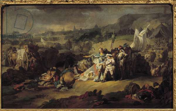 """War of the Succession of Austria (1740-1748): """""""" The Battle of Fontenoy, 11/05/1745 in the presence of Louis XV and the Dauphin"""""""" The battle between France and England. Anonymous painting of the 18th century French school."""