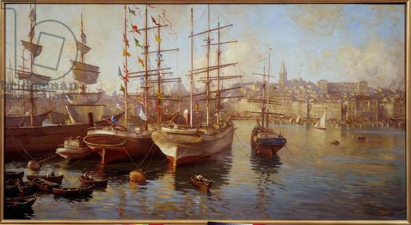 Orange balacelles. (View of the port of Marseille). Painting by Etienne Martin (1858-1945), 1889. Marseille, Musee Du Vieux Marseille