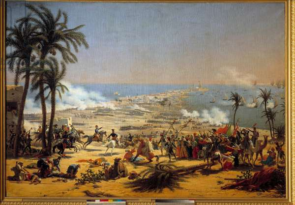 """Campaign (Expedition) of Egypt (1798-1801): """""""" The Battle of Aboukir (July 25, 1799)"""""""" Painting by Louis Francois Lejeune (1775-1848) 19th century Sun 1,85 x 2,55 m"""
