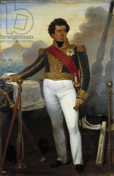"""Conquete de l'Algerie: """""""" Portrait en pied de Victor Guy, Baron Duperre, admiral and minister of the navy from 1834 to 1843 (1775-1846), representative in small attire of admiral then commanding the fleet of the Algiers expedition in 1830"""""""" Painting by Joseph Court (1797-1865) 1832 Sun. 2,14x1,4m"""