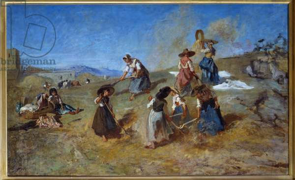 Harvest Painting by Eugene Fromentin (1820-1876) 1875 Sun. 0,78x1,2 m Rouen, Musee des Beaux Arts