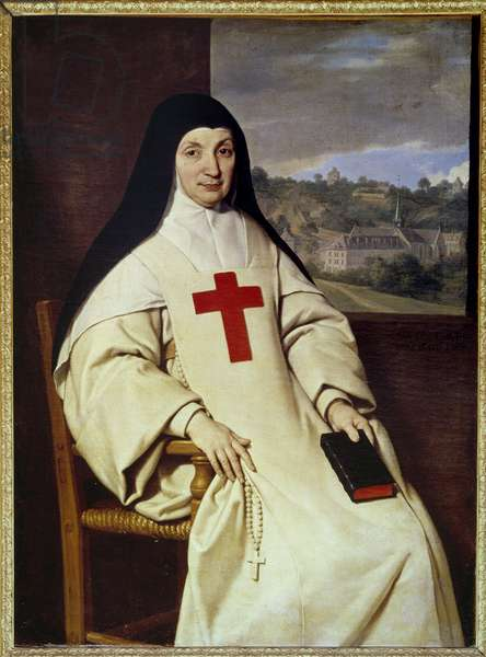 """Portrait of Mother Angelique Arnauld Jacqueline Marie Arnauld dit Angelique Arnauld (1591-1661), abbess of Port Royal des champs (Port-Royal-des-Champs), figure of French Jansenism"""""""" Painting by Philippe de Champaigne (1602-1674), 1654 Sun. 1,3x0,98 m"""