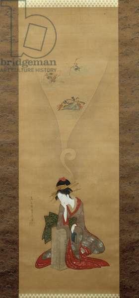 Young woman reselling tales of Ise. Japanese print by Chobunsai Eishi (1756-1829), Ukiyo-E style. London, British Museum