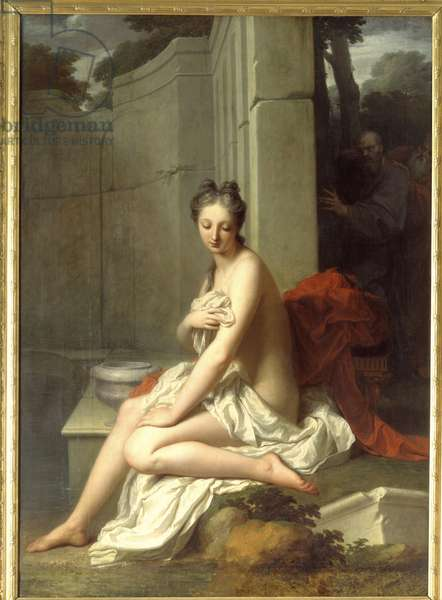Suzanne au bain Painting by Jean Baptiste Santerre (1651-1717) 18th century Sun. 2,05x1,45 m .