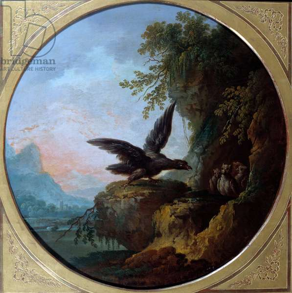 The eagle and the owl. Illustration for the fable by Jean de La Fontaine. Painting by Jean Baptiste Claudot (1733-1805), 18th century. Chateau Thierry, Musee La Fontaine