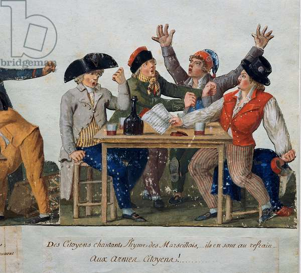 "French Revolution: """" Citizens singing the anthem of Marseille: with arms Citizens..."""" The no-panties attable in an inn sing Marseillaise. Engraving by the Lesueur brothers (18th century). Musee Carnavalet, Paris"