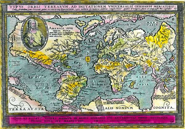 Universal Geographic Map (World Map) of 1596. Engraving. Private collection.