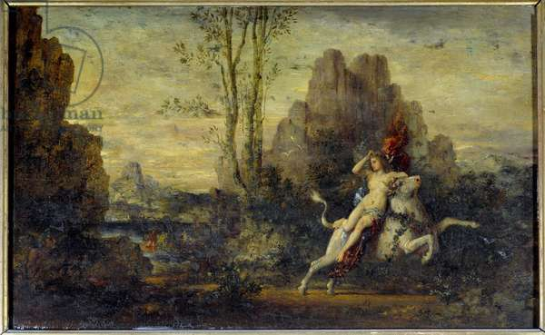 The kidnapping of Europe. Painting by Gustave Moreau (1826-1898), 1869. Oil on wood.