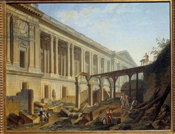Degagement of the Louvre Colonnade Works carried out by Jacques Germain Soufflot. Painting by Pierre Demachy (1723-1807), 1764. Sun. 0,41x0,51 m Paris, musee Carnavalet
