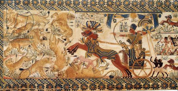 Art Egypt: Tutankhamun on his chariot chases lions. College simile from the Tutankhamun box. Paris, College De France