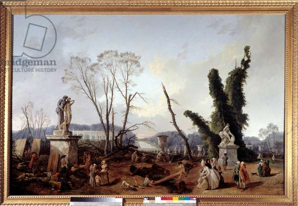 Le Carpet Vert at the time of the cutting of trees in the winter of 1774-1775 in the gardens of Versailles (in the foreground, King Louis XVI and Queen Marie-Antoinette). The green carpet is also called the royal allee. Painting by Hubert Robert (1733-1808). 1774-1775. Dim. 1,24x1,91 m. Versailles, Castles of Versailles and Trianon