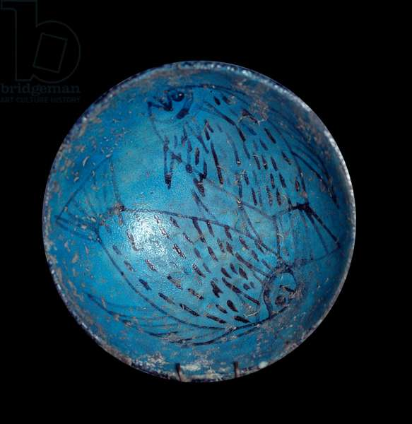 Egyptian antiquite: hathoric cup to drink blue in faience with fish decor. 18th dynasty. 1550-1295 BC. Dim. 13 cm Paris, Musee du Louvre