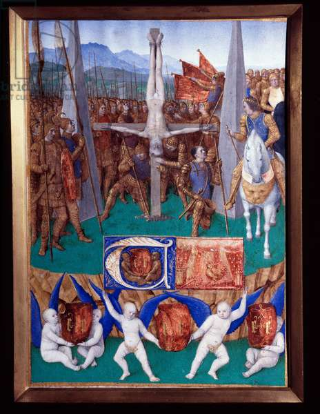 """The martyrdom of Saint Peter Miniature taken from """"The Book of Hours of Etienne Chevalier"""" by Jean Fouquet (1420-1477/1481), 15th century. Chantilly, Conde Museum"""