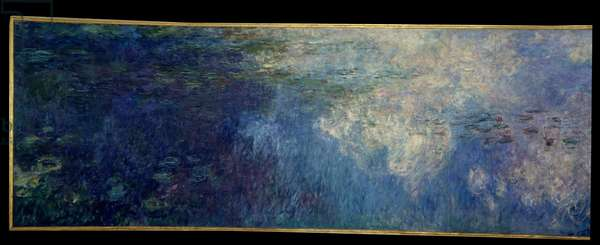 The nympheas; the clouds. Left part of the triptych painted in Giverny. Painting by Claude Monet (1840-1926), 1914-1926. Oil on wood. Dim: 2 x 4,25m. Paris, Musee De l'Orangerie.