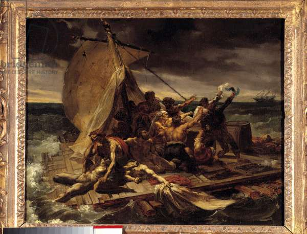 The raft of the Meduse Premiere sketches. Painting by Theodore Gericault (1791-1824). Dim. 0.37 X 0.46 m.