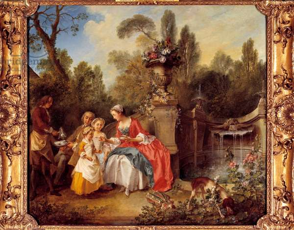 A woman in a garden having coffee with children or a cup of chocolate Painting by Nicolas Lancret (1690-1743), 1742. Dim. 0.88 x 0.97 m. London, Tate Gallery