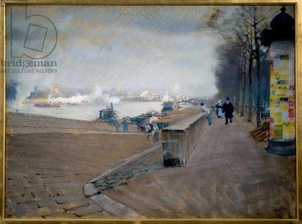 La Seine in Paris. Painting by Giuseppe Nittis (1846-1884), 19th century. Pastel. Dim: 0,50 x 0,68m. Paris, Musee d'Orsay