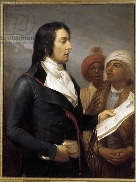 """Campaign (Expedition) of Egypt (1798-1801): """""""" Portrait of General Charles Antoine Desaix de Veygoux (1768-1800) reading an agenda of General Bonaparte to two Egyptians during the Expedition of Egypt An IX of the Republic"""""""""""" Painting by Andrea Appiani the groin (1754-1817) Sun. 1,15 x 0,88 m. 18th century. Versailles, musee du chateau - Campaign of Egypt (1798-1800): """""""" Portrait of General Louis-Charles-Antoine Desaix de Veygoux (1768-1800) reading an agenda of General Bonaparte to two Egyptians during the expedition of Egypt, Year IX of the Republic"""". Painting by Andrea Appiani The Elder (1754-1817). 1,15 x 0,88 m. 18th century. Castle Museum, Versailles, Paris"""