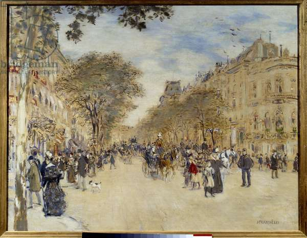 """Belle epoque: """""""" View of the Pavilion of Hanover and the Boulevard des Italians in Paris"""""""" Painting by Jean Francois Raffaelli (1850-1924) Start of the 20th century Sun. 0,66x0,82 m Rouen, Musee des Beaux Arts"""