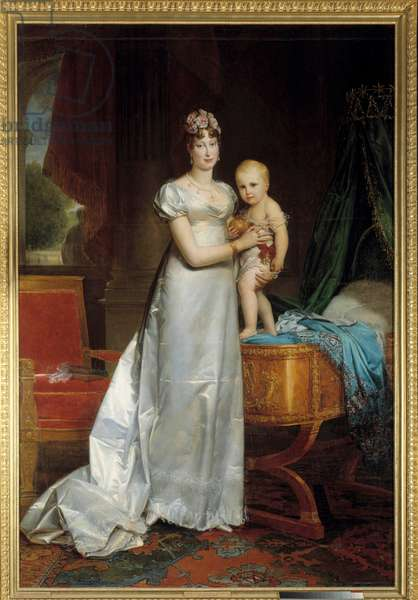 Portrait of the Impress Marie Louise (1791-1847) and the King of Rome Painting by Francois Gerard (1770-1837) 1813. Dim. 2,40 x 1,62 m. Versailles, Musee du Chateau - Portrait of the Empress Marie Louise (1791-1847) and the King of Rome. Painting by Francois Gerard (1770-183) 1813. 2.40 x 1.62 m.