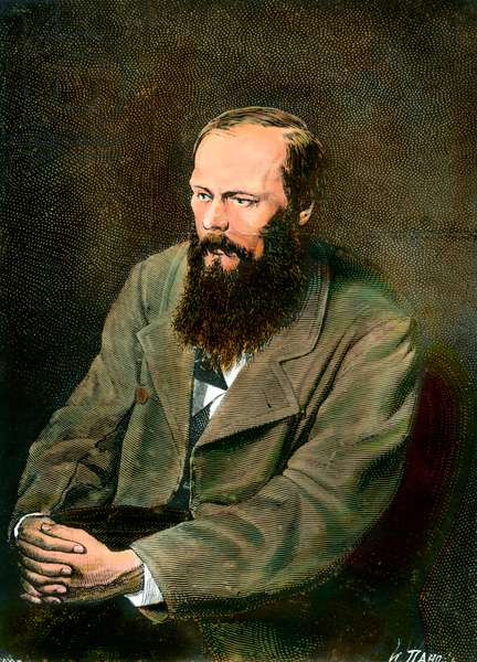 Portrait of the Russian writer Fedor Dostoievsky (Dostoevsky or Dostoevskij) (1821-1881).
