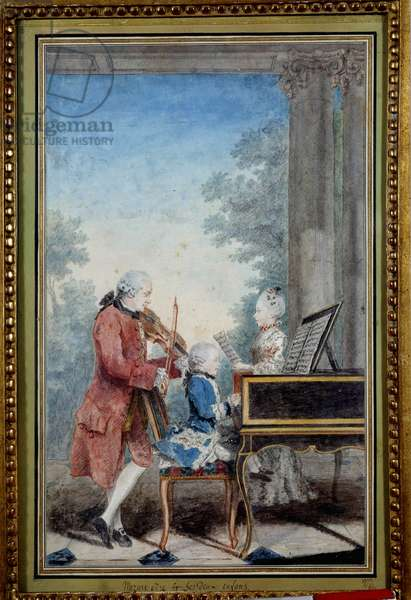 Wolfgang Amadeus Mozart (1756-1791) as a child playing piano with his father and sister (Wolfang Amadeus Mozart with his father, Leopold, and his sister, Marie-Anne, dit Nannerl. (Leopold Mozart and his children Marianne and Wolfgang Amadeus) Watercolour by Louis Carrogis Carmontelle (1717-1806) 1777 Paris, Musee Carnavalet