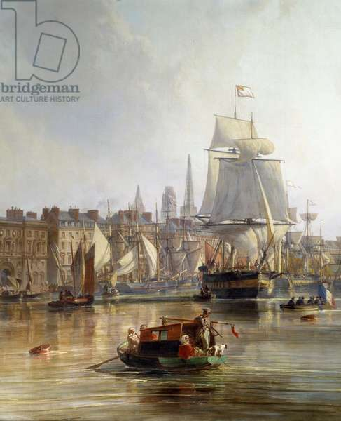 Ship in the port of Rouen in 1855 Detail. Painting by Charle Louis Mozin (1806-1862) 1855 Rouen, Musee des Beaux Arts