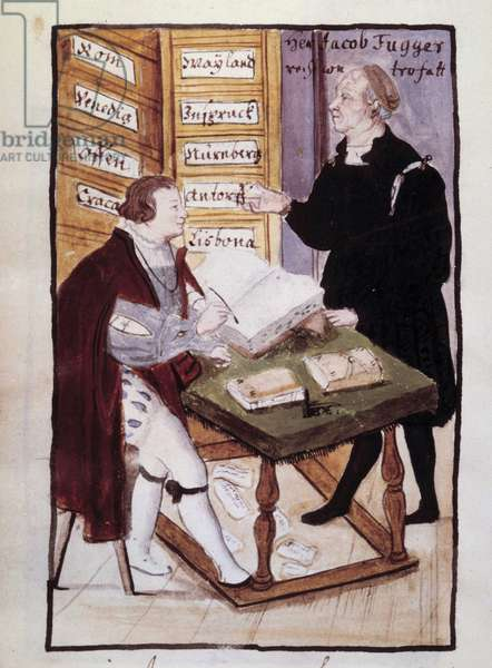 The German banker Jacob Fugger (1459-1525) in his office (Goldene Schreibstube) with his German accountant Matthaus Schwarz (1497-around 1574) Watercolour of the 16th century. BN, Paris