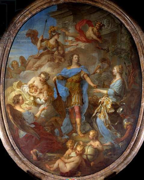 King Louis XV (1710-1774) giving peace to Europe Allegorie at the time of the Treaty of Seville, the goddess Minerva is represented. Painting by Francois le Moyne (1688-1737) 1729 Sun. 3,82x2,95 m Versailles, musee du chateau.