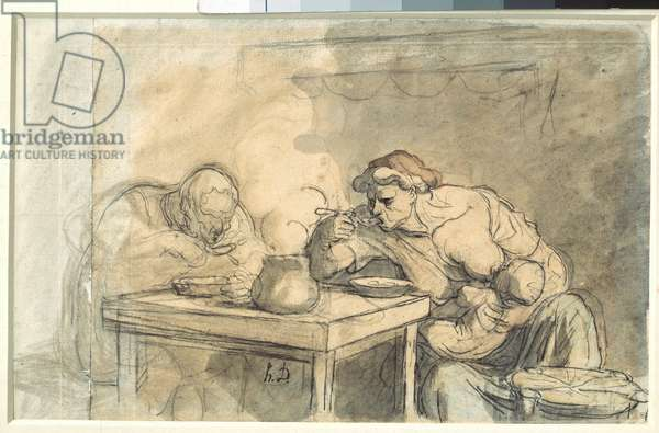 Soup A couple of workers eating soup, the mother breastfeeding the baby. Watercolour by Honore Daumier (1808-1879). 1862-1865. Dim. 0,3x0,49 m. Paris, Louvre Museum