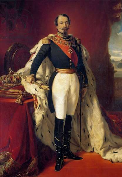 Portrait of Napoleon III (1808-1873), Emperor of the French in front of a view of the Chateau de Saint Cloud. Painting by Franz Xaver Winterhalter (1806-1873) 1855 Sun. 2,4x1,5 m