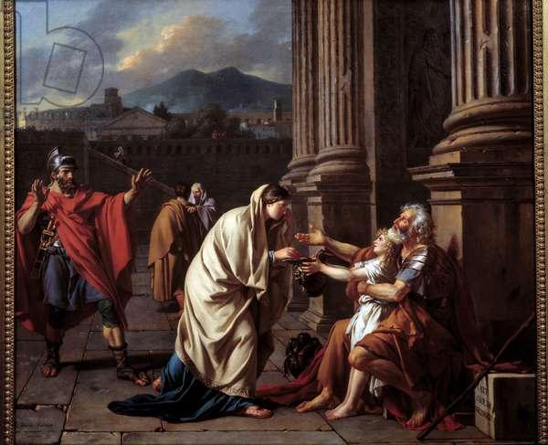Belisaire (500-565) asking for alumone. (Belisarios - Flavius Belisarius) Painting by Jacques Louis David (1748-1825), 1781. Oil on canvas. Sun: 1.01 m. Length: 1,15 m. Paris, Musee Du Louvre